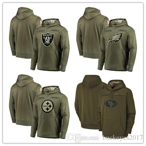 reputable site 33f43 25335 2018 Men Pittsburgh Steelers Sweatshirt Philadelphia Eagles Salute to  Service Oakland Raiders Olive San Francisco 49ers Pullover Hoodies