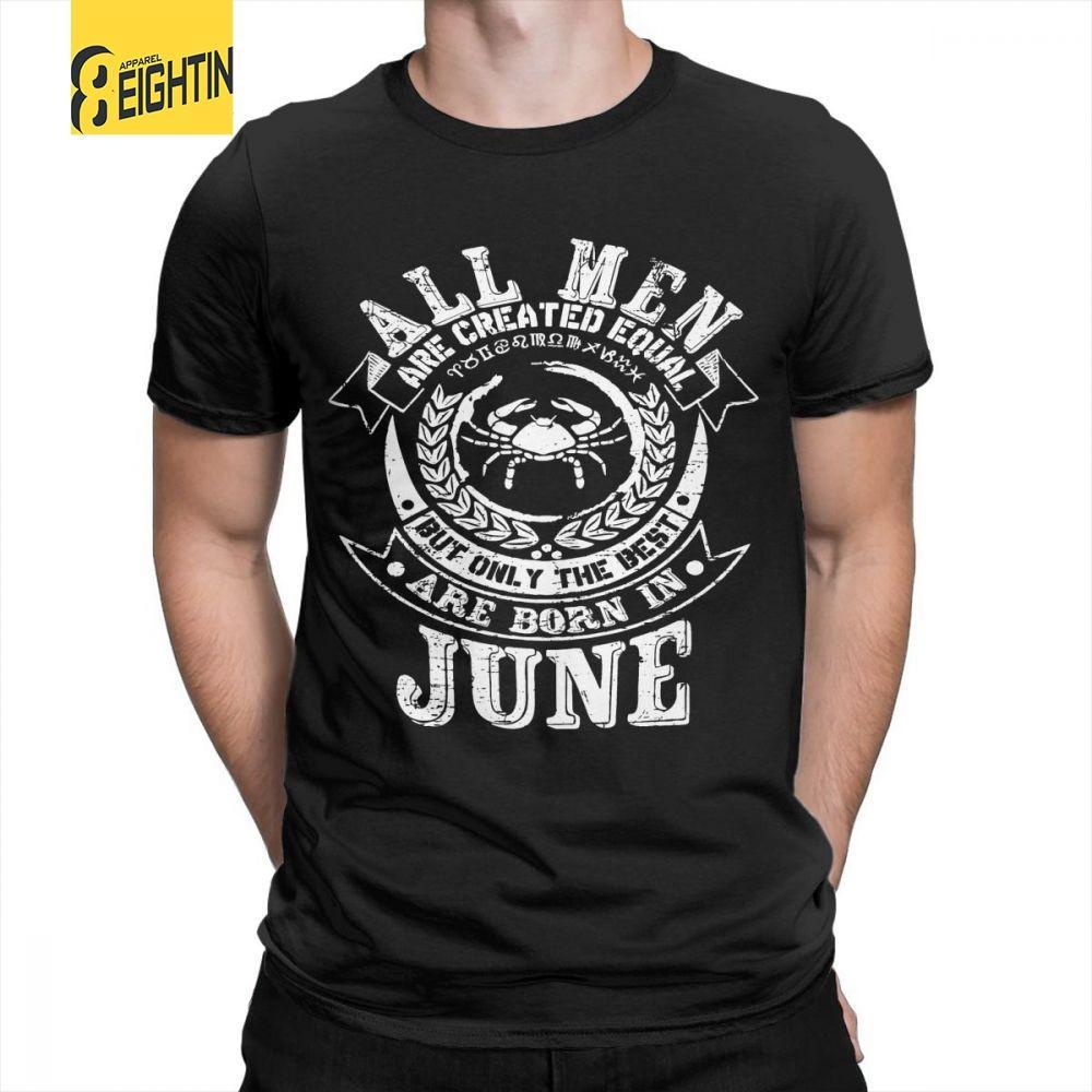 cc264116d746d June Cancer Zodiac Birthday Men s T-Shirt Short Sleeve O Neck Vintage Pure  Cotton T Shirts Plus Size Novelty Tees Plus Size