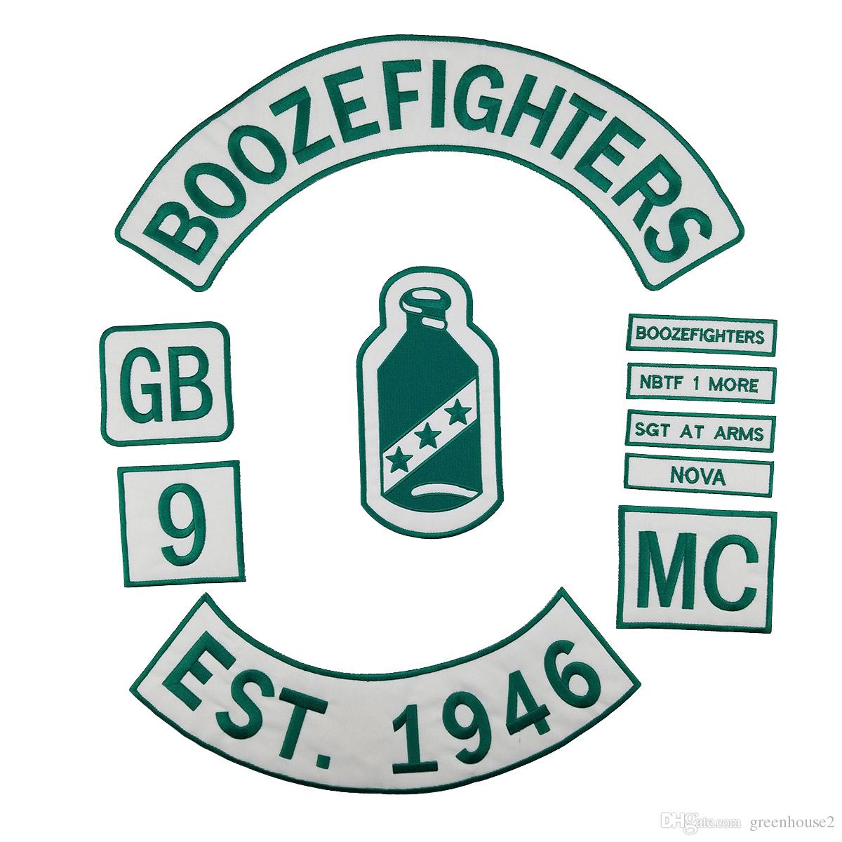 BOOZEFIGHTERS EST.1946 Motorcycle club Patch MC Embroidered Full Back Large Pattern For Rocker Biker Vest Patches for clothing Free Shipping