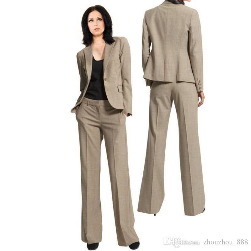 f191bdc4a081 Acquista Abiti Da Lavoro Da Ufficio Uomo D affari Su Misura Singola Fibbia  Vestito Da Donna Sottile Risvolto Vestito Da Donna A Due Pezzi Giacca +  Pantaloni ...