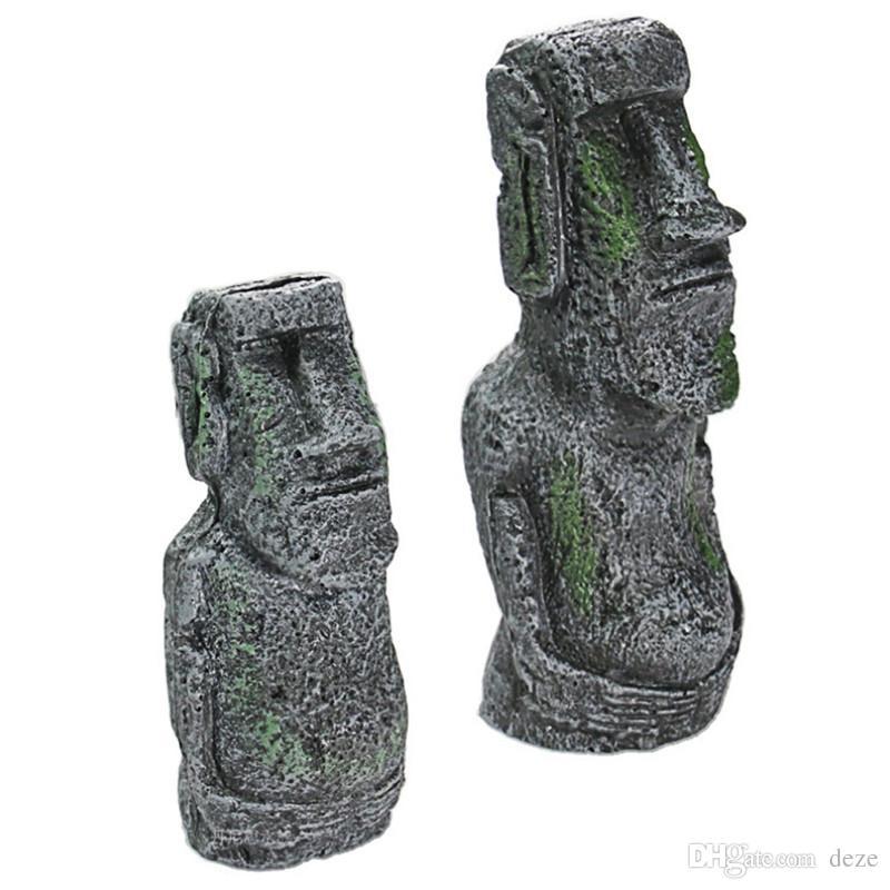 Aquário Decoração Estátua Da Cabeça Da Ilha De Páscoa / Faraó Egípcio / Tema Deserto De Pirâmide Evitar Esconderijo Cave Tanque De Peixes Decoração Do Ornamento Da Resina