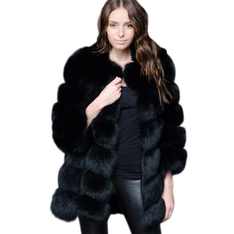 Neue Medium Lange Gefälschte Fuchs Pelz Jacke Frauen Winter Faux Fuchs Pelz Jacken Frau Warme Künstlichen Fuchs Pelz Mäntel Weibliche damen Pelz