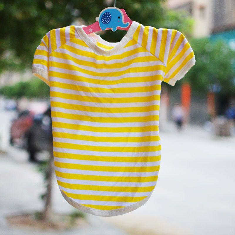 Spring and summer pets apparel No collar dog striped T-shirt Comfortable Breathable Dog Polo Shirt