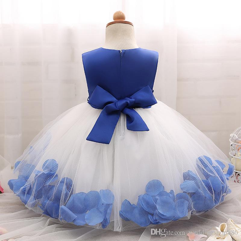 Kids Infant Girl Flower Petals Dresses Children Toddler Elegant Dress Pageant Vestido Infantil Tulle Formal ball gown Party Dresses