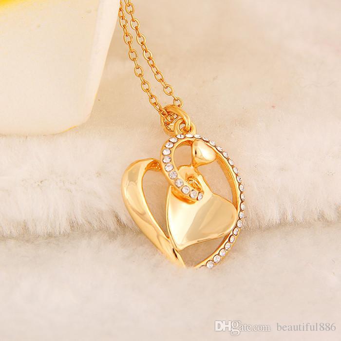 Popüler moda Trendy Gül altın renk kolye kolye kız kadın avusturya kristal sevgilisi hediye kalp rhinestone klasik takı