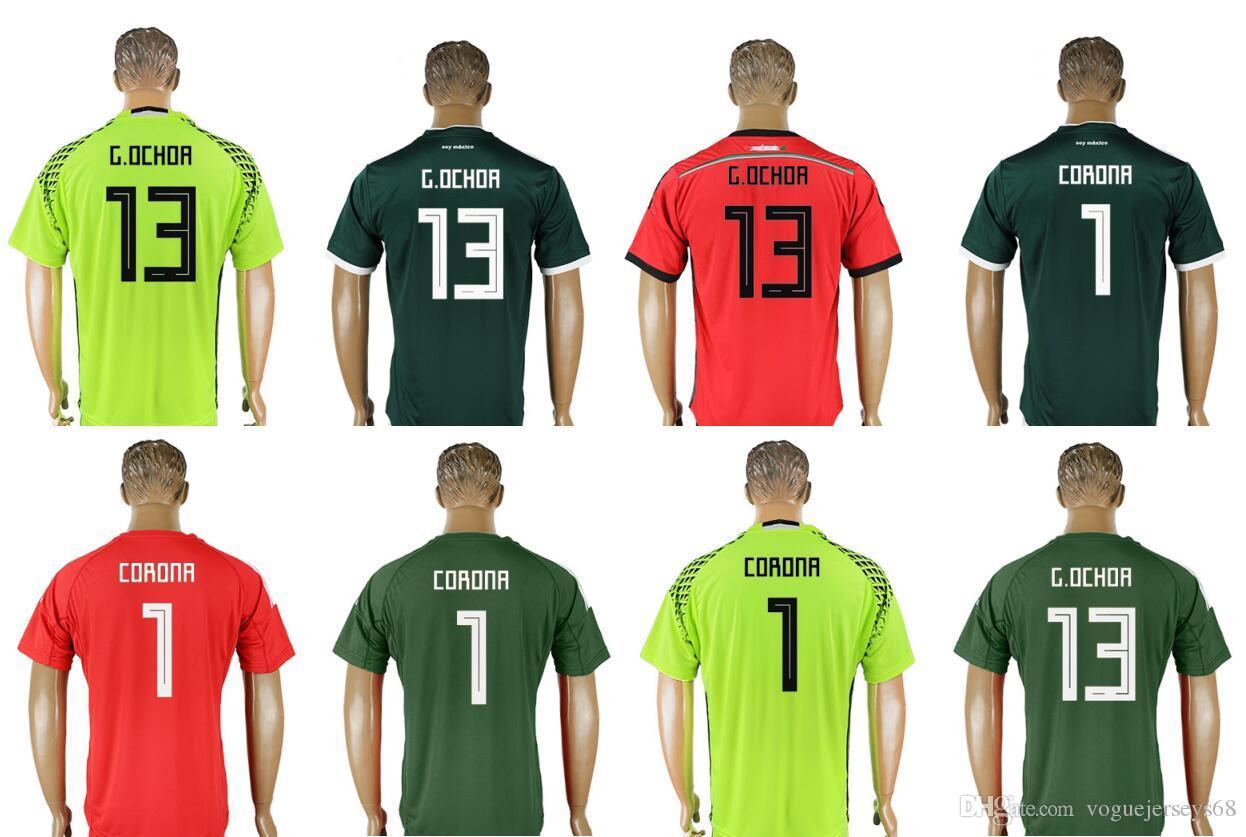 México Team 2018   1 Jose De Jesus Corona 13 Guillermo Ochoa GK Uniformes  Para Hombre Camisetas De Fútbol Equipo Deportivo Custom Pro Camisetas De  Fútbol En ... a5f22bda4d4f6