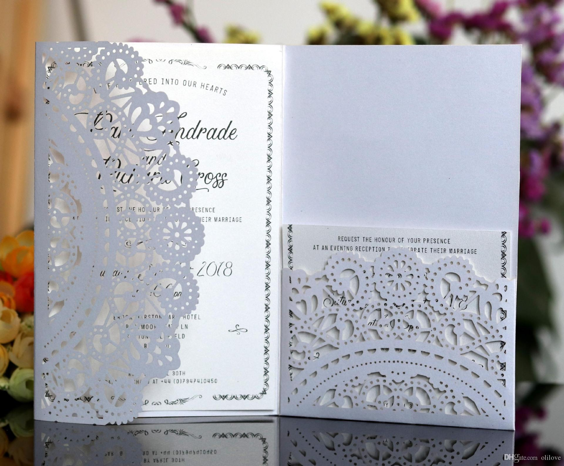 White Color Laser Cut Wedding Invitations Cards With RSVP Pearl Paper Invite Card Stock For Birthday Party Supply