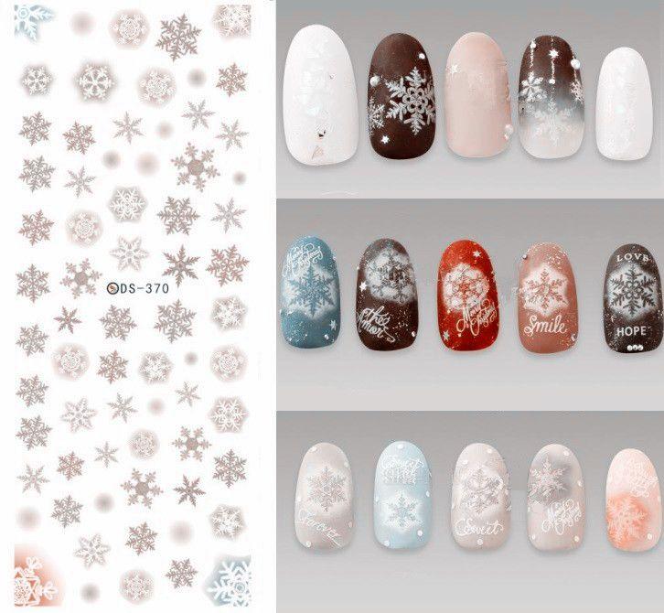 Ds370 Diy Designer Water Transfer Nails Art Sticker Grey Snowflake