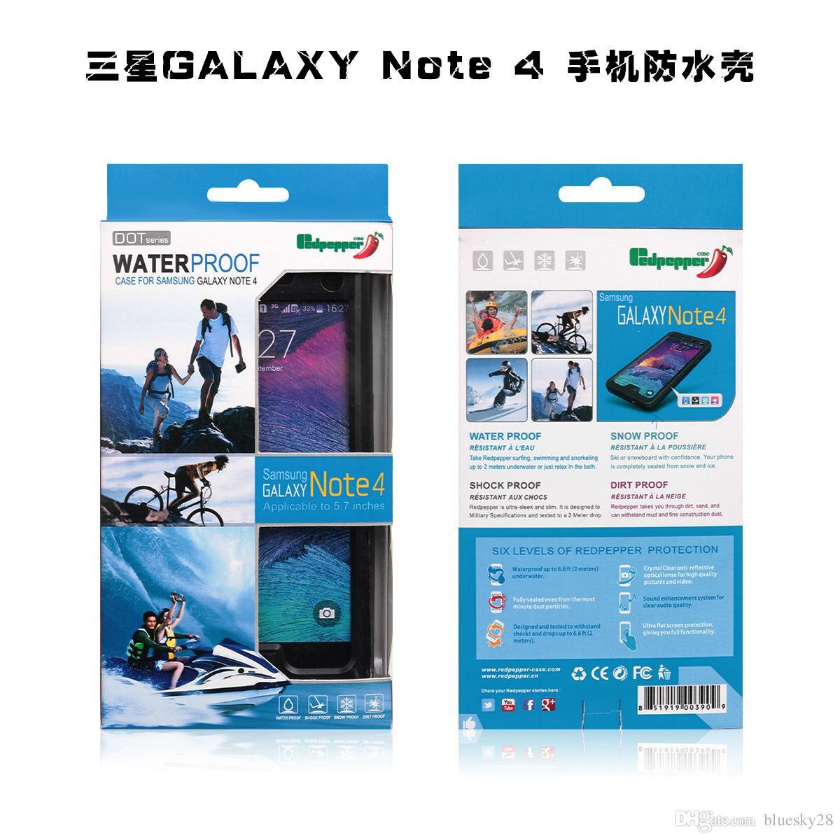 IP68 Waterproof For Samsung Galaxy Note4 Waterproof RedPepper Shockproof Case Bag Underwater 3 Metres Free DHL Shipping