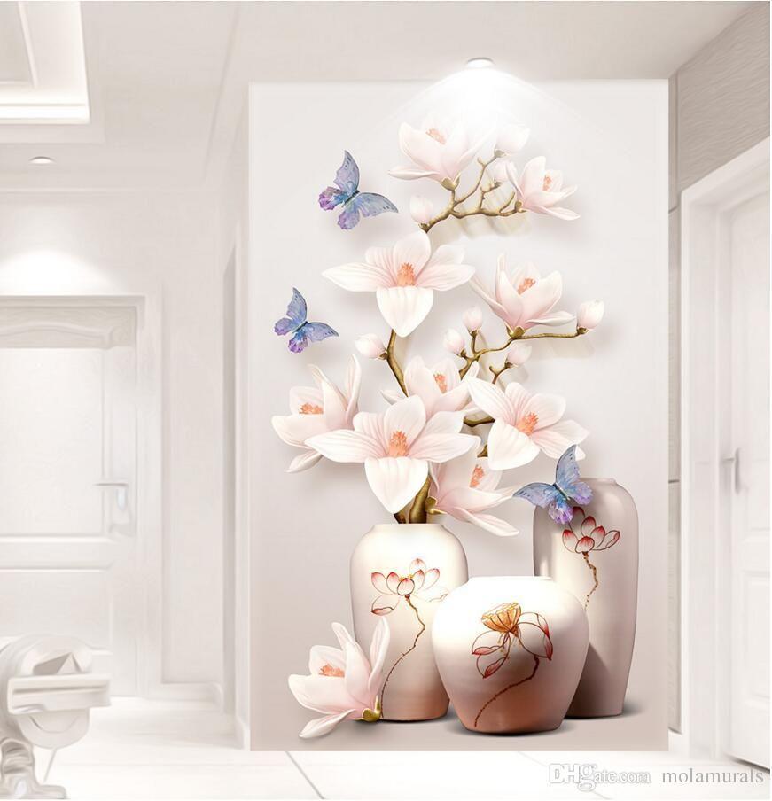 Custom Hd Photo 3d Wallpaper Flower Murals Flowers Entrance Hallway