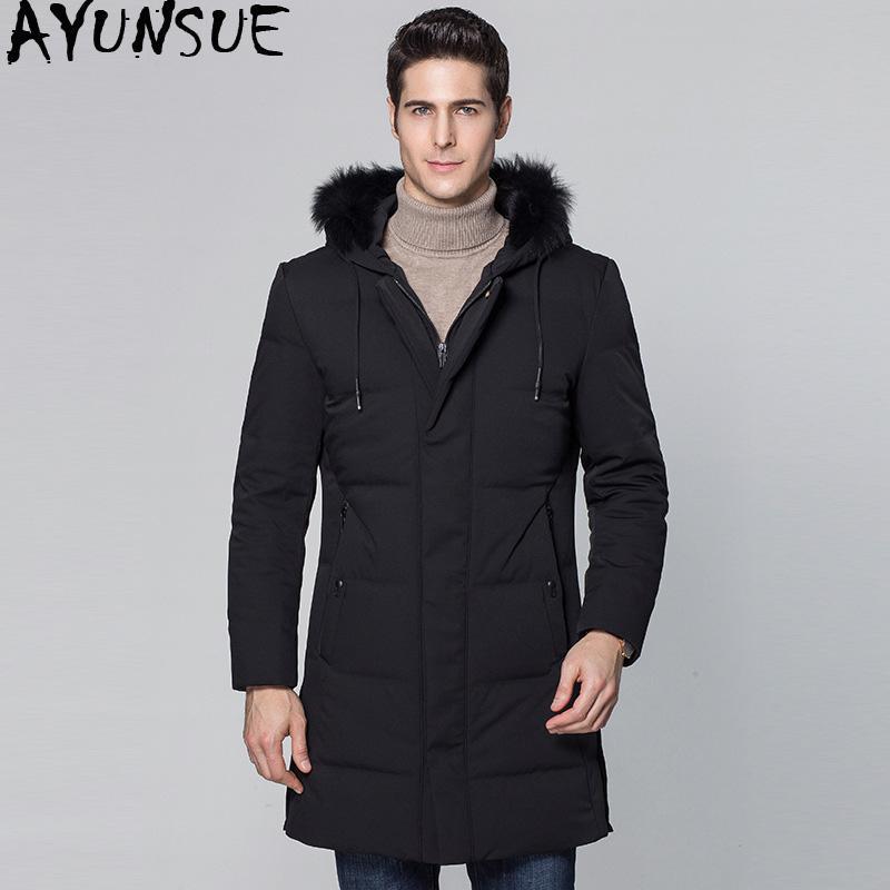 cb5be9f62 AYUNSUE 2018 New Duck Down Jacket Men Big Fox Fur Collar Winter Down Coat  Male Parka Outerwear Men s Jackets Abrigo Hombre KJ559