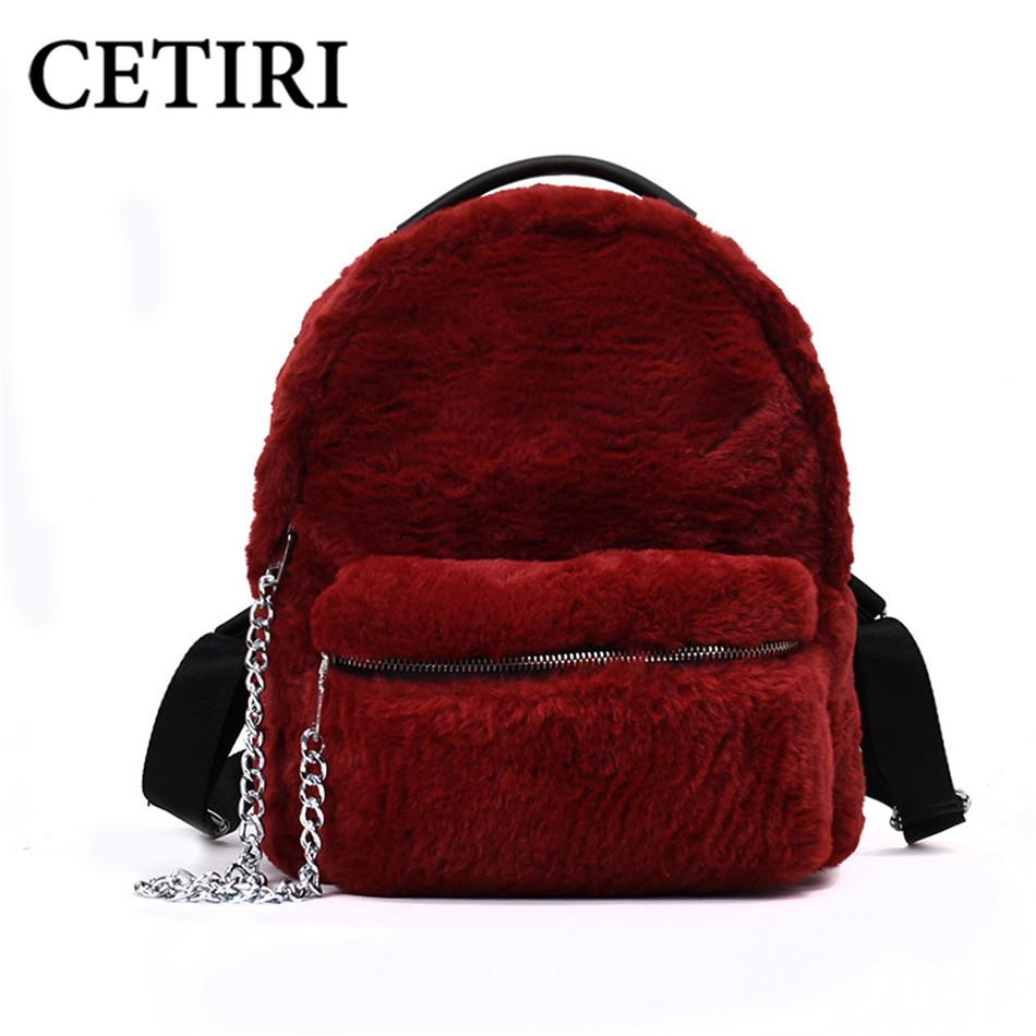 402aa3ba2d CETIRI Winter Faux Fur Backpack Women Bag Teenages Girls Soft Cute ...