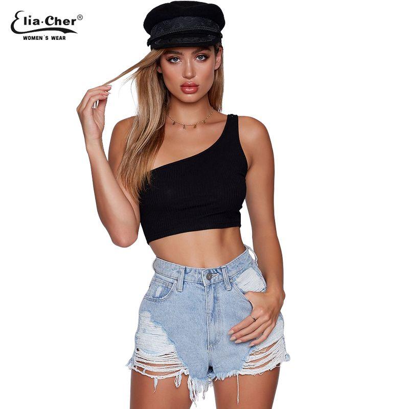 6b9656ffffe0ae 2019 Sexy Fashion Black One Shoulder Ribbed Bodysuit Short Tops Women Sexy  Summer Bodysuits Punk Shirt Ribbed Shirts 9150 From Eventswedding