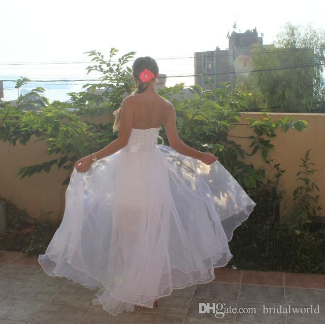 Walk Beside You White Wedding Dresses Removable Train Strapless Beach Bridal Gowns Lace Applique Beaded Detachable Skirt 2018