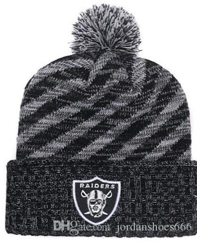 ba8c9ccc8f2 2019 Winter Hat Oakland Beanie Stripes Sideline Cold Weather Sport Knit Hat  Wool Bonnet Warm TD Graphite Official Reverse Cap Beanies From  Jordanshoes666