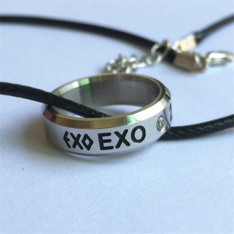 2019 Youpop KPOP EXO Birthday Fan K M EXODUS Team Logo Alloy Jewelry Rings For Women Or Men Gift Leather Lanyard BF0115 From Wutiamou