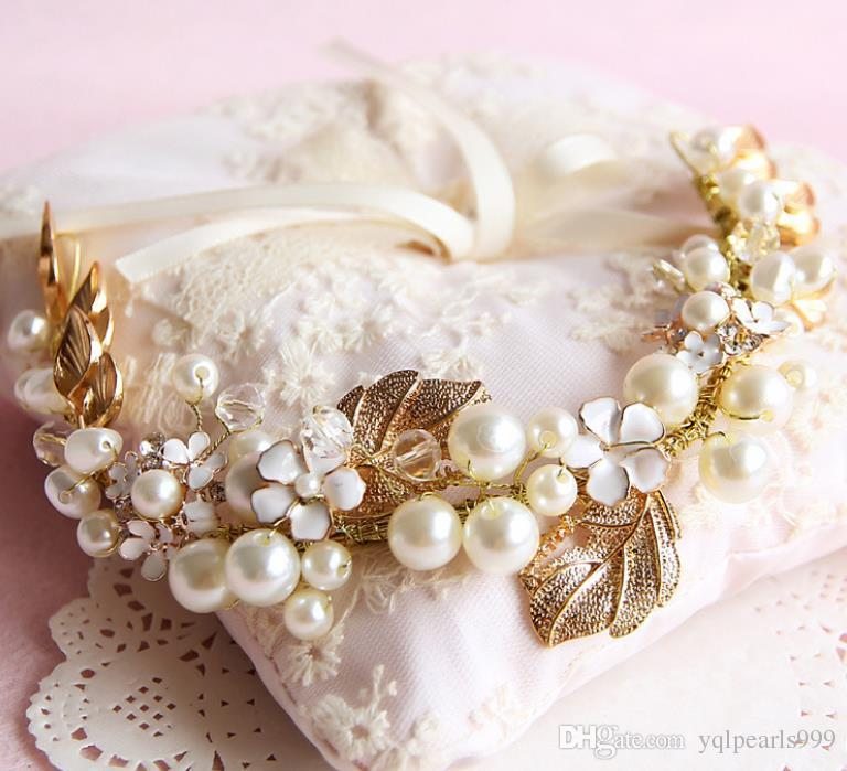 Fashionable gold handmade headwear, bridal pearl headwear, wedding dress accessories