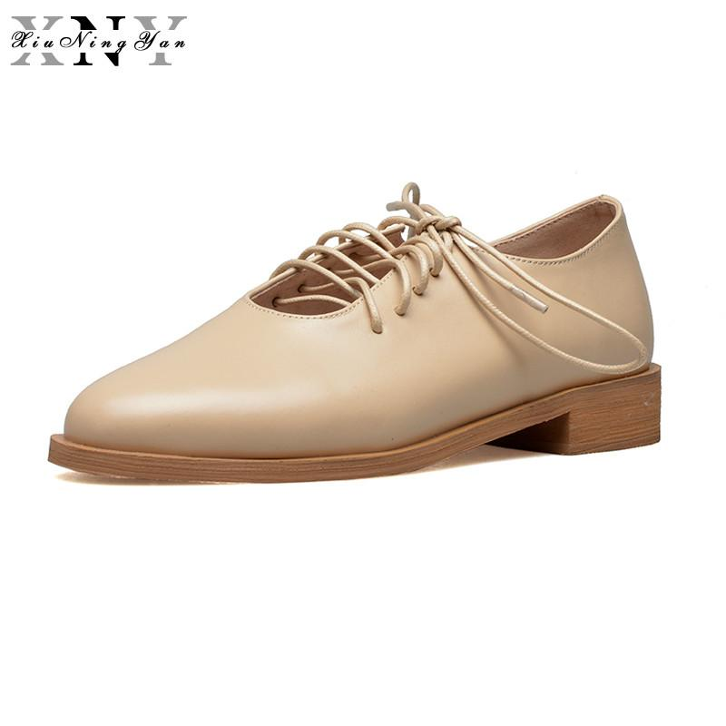 XiuNingYan 2018 Spring Autumn Genuine Leather Women Brogues Casual ... 970027aa28b7