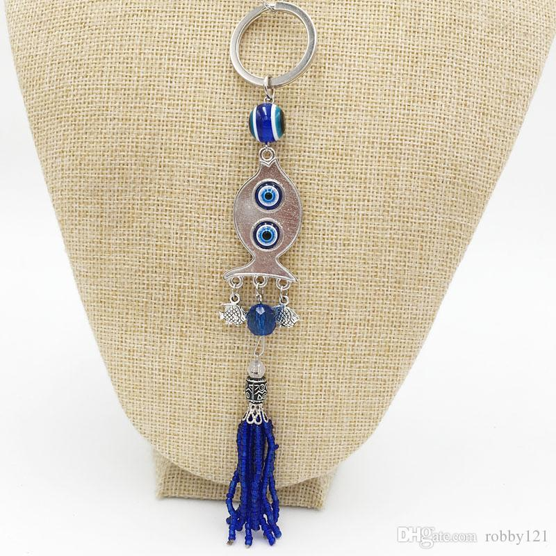 Fashion Fish Tassel Key chain Good Luck Blue Evil Eye Pendant Handbag Charms Key Rings For Women Men Jewelry Findings