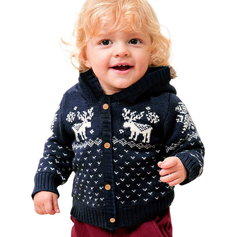 Sweater With Deer For Baby Unisex Boys and Girls Button-up Cotton Coat Infant Toddler Kids Christmas Gift Cardigan Sweater 6-24M
