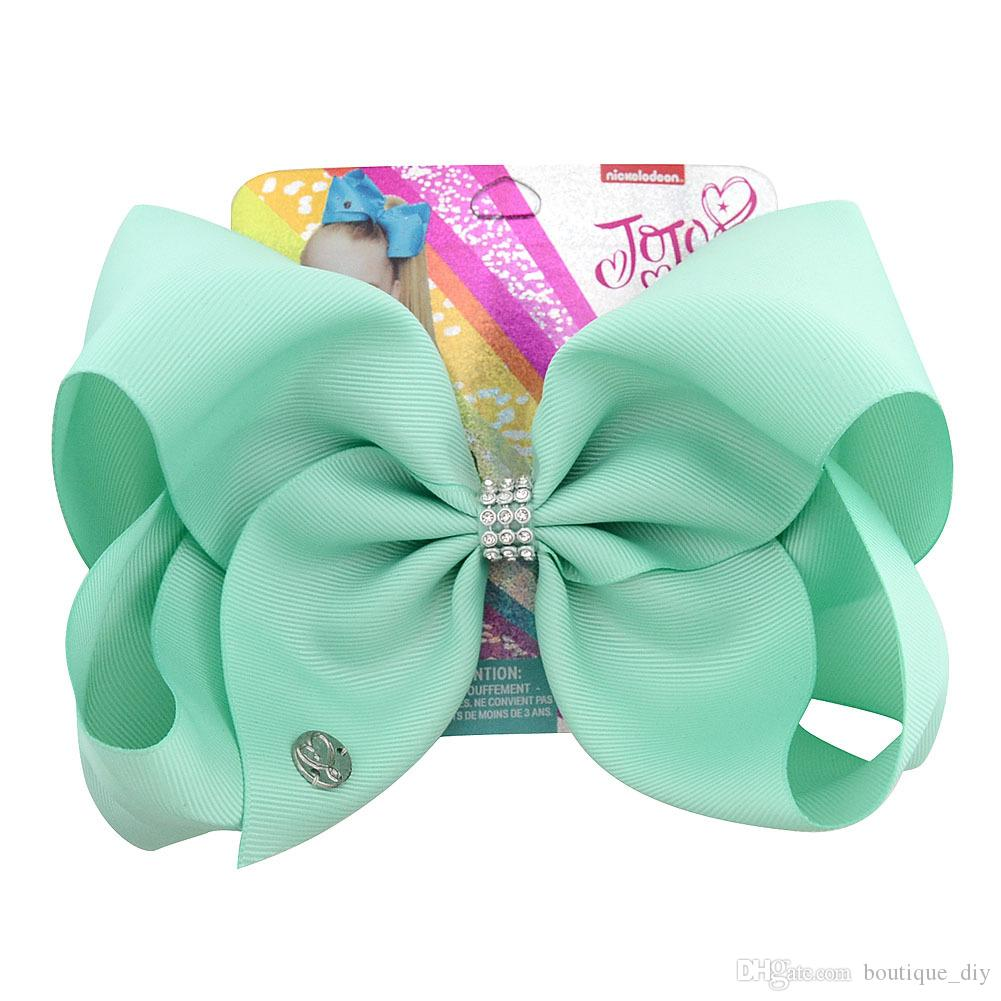 INS HOT Girls JOJO Hair Bow Color Sólido Bebé Bowknot Pinza de Pelo Niños Boutique Barrettes 3 Líneas Rhinestone Accesorios Para el Cabello Niños Headwear H47