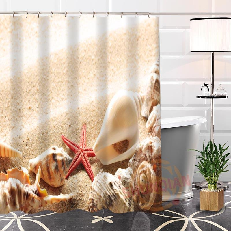 Best Nice Custom Beach Shells Shower Curtain Bath Waterproof Fabric Bathroom MORE SIZE LQ1 Curtains