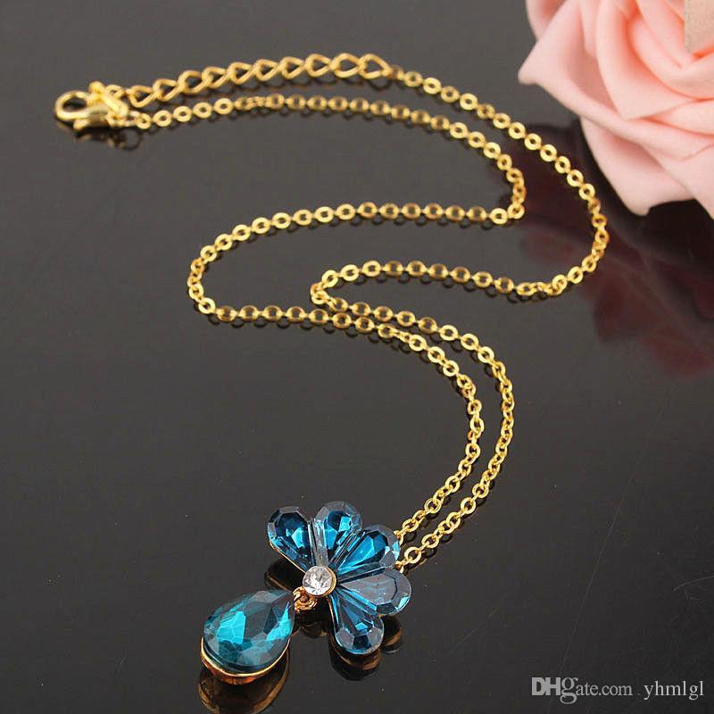 Женский 14 К Позолоченный Австрийский Кристалл Аметист Цветочный Ожерелье 4 цвета