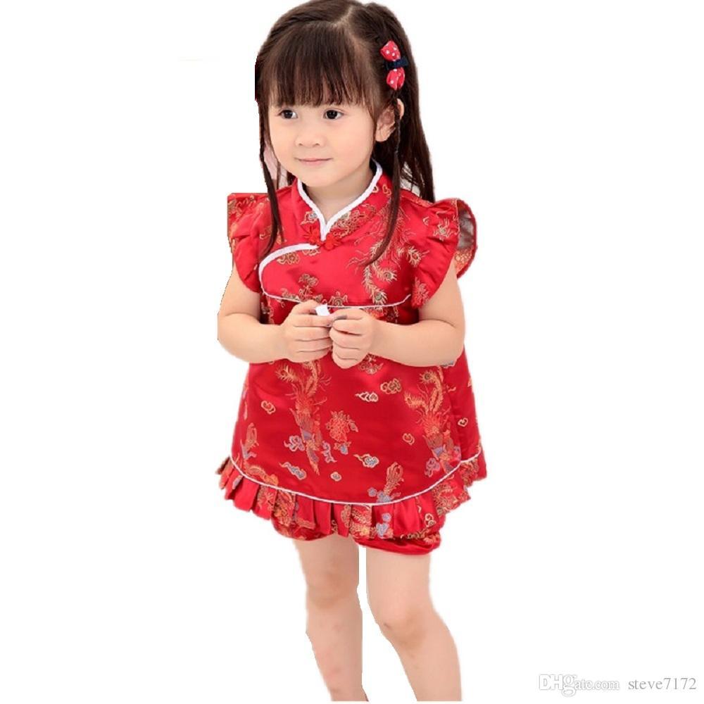 2018 baby QIPAO dresses kids skirts tapestry satin Newborn sets silk brocade baby outfits skirts pants