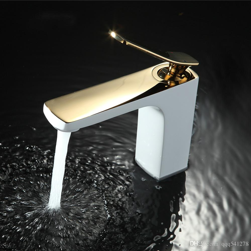 Satın Al Banyo Bataryası Krom Altın Beyaz Boyama Musluk Havzası