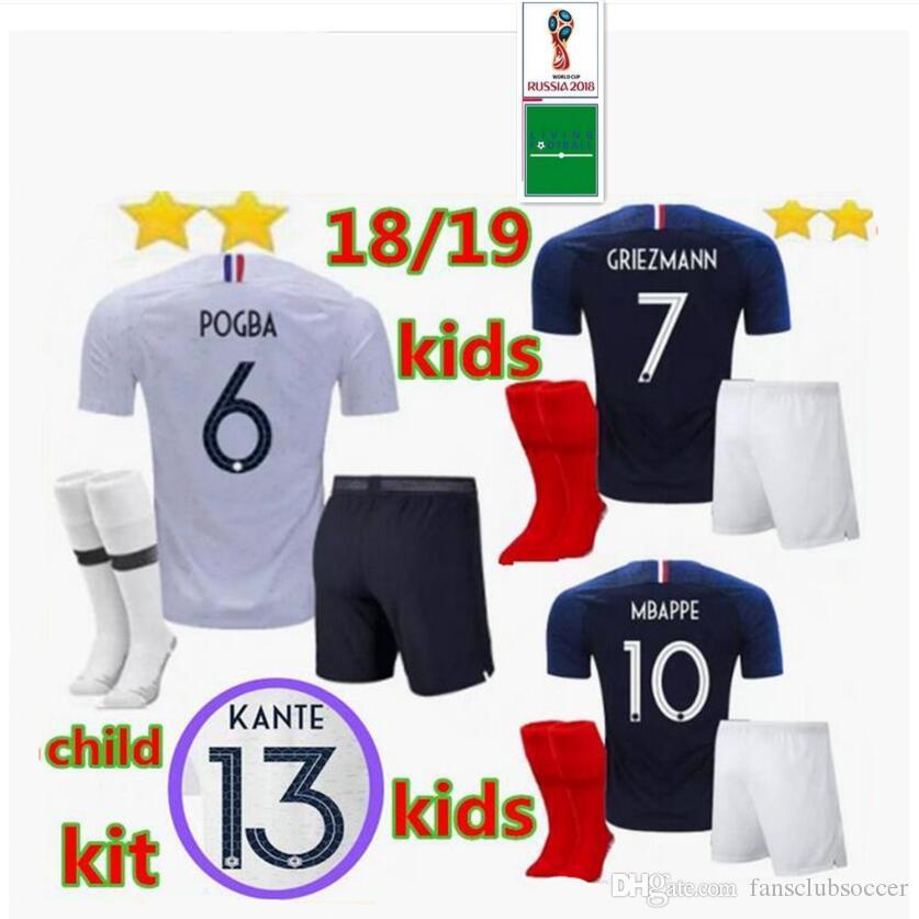 99af6bf47fc 2019 Fr 2018 World Cup KIDS KIT + SOCKS GRIEZMANN POGBA MBAPPE Home Soccer  Jerseys MARTIAL KANTE DEMBELE Maillot De Foot Football Shirts From  Fansclubsoccer ...
