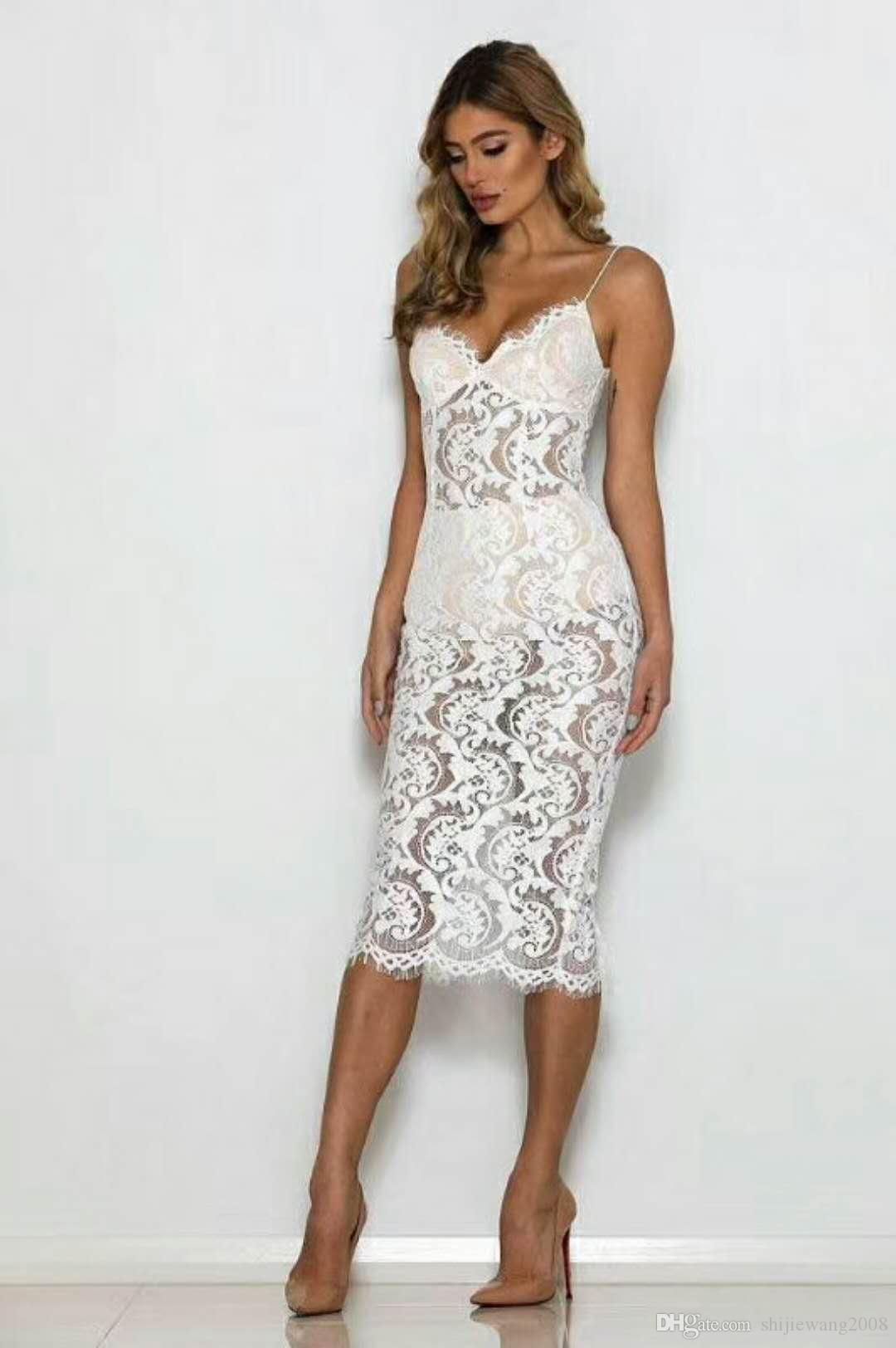 9adaf85a3ae 2019 HOT New Style Woman White Strap Lace Perspective Dress Evening Dress  Skirt, Bandage Skirt, Banquet Dress, Wedding Dress From Shijiewang2008, ...
