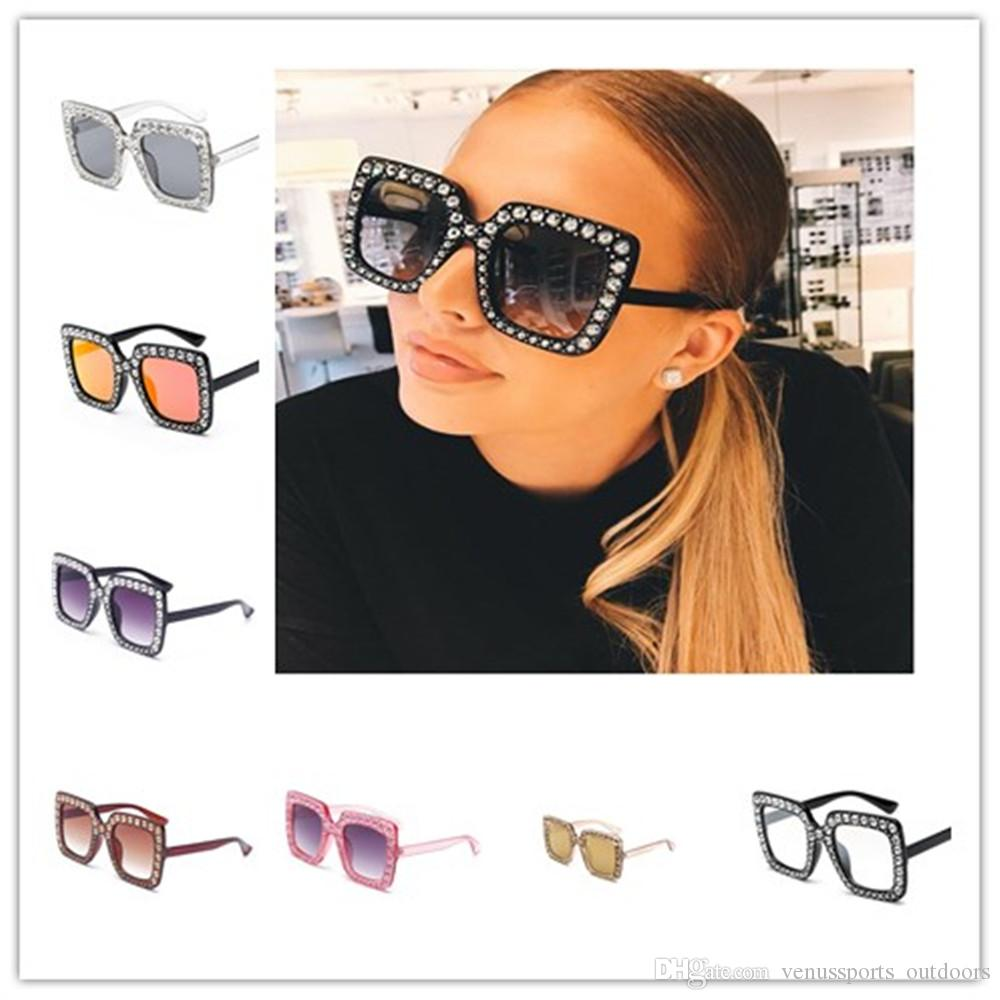 37020401a1 2019 Luxury Brand Big Crystal Sun Glasses Square Women Oversized Sunglasses  Retro Rhinestone Square Frame Bling Sunglasses From Venussports outdoors