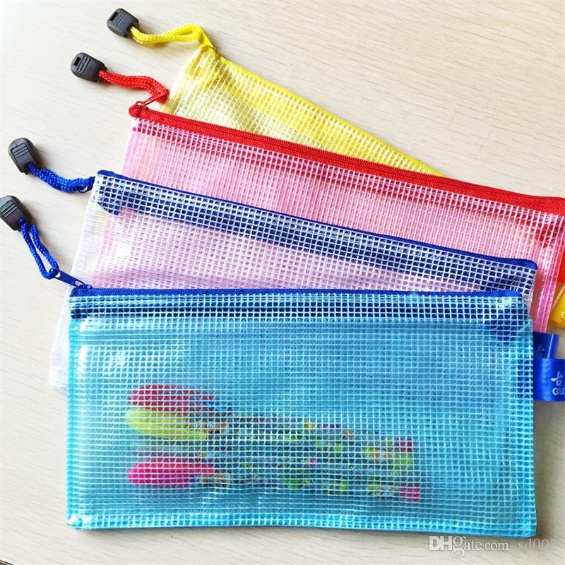 شبكة سحاب أرشفة حقيبة متعدد الألوان مجلدات للماء بلاستيكية ملف الجيب طالب القرطاسية مستلزمات الإيداع 1 55zt C R