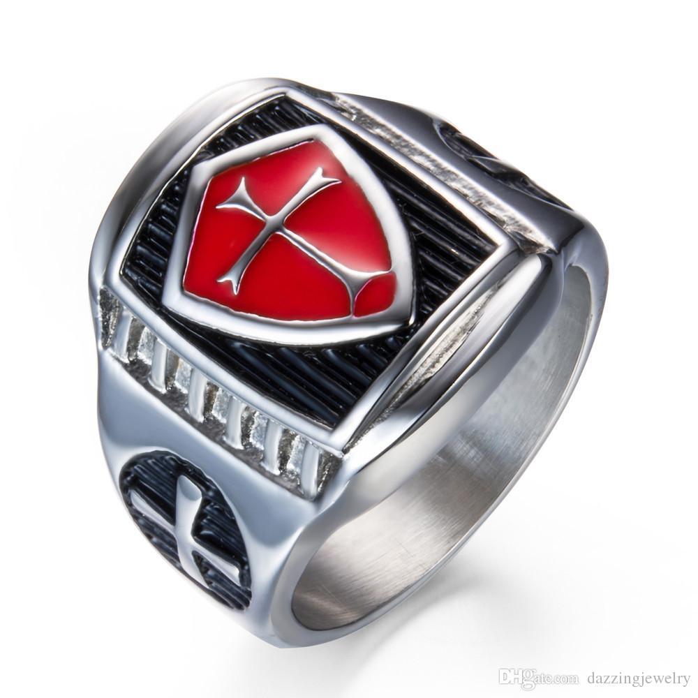wholesale 316 Stainless Steel men's Women Red Lodge Enamel knights templar emblem masonic cross Rings shield design retro jewelry