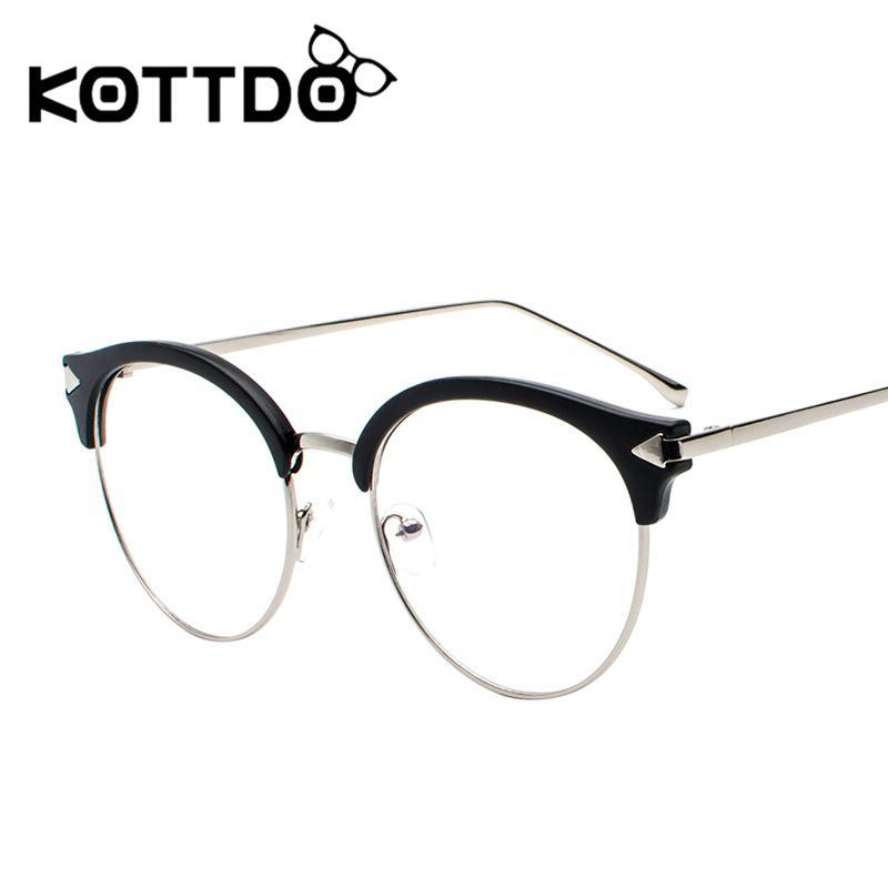 6f6f25a3fffe 2019 KOTTDO 2018 New Round Eyewear Vintage Retro Reading Glasses Frame  Cheap Prescription Metal Flat Mirror Female Myopia Eyeglasses From Naixing