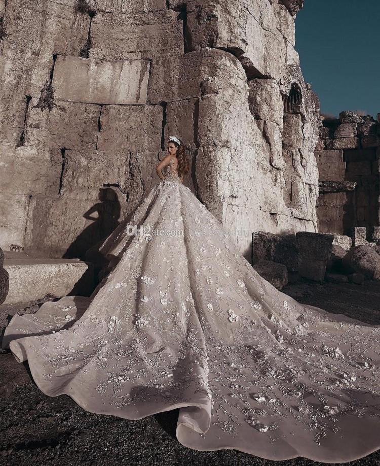 Роскошные Бальное Платье Свадебные Платья Sheer Шеи Длинными Рукавами Бисером Цветы Тюль Саудовский Арабский Будай Свадебные Платья Собор Поезд