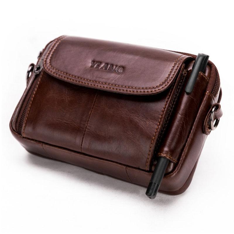 d3fb1851ebfec YIANG Men Genuine Leather Crossbody Shoulder Bag High Quality Fashion Belt  Waist Fanny Pack Phone Cigarette Case Bag Wallet New Rolling Backpack Bags  For ...