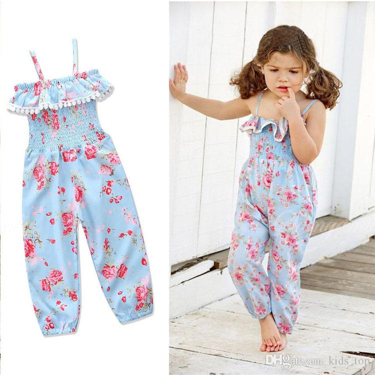37d0924dfc48f 2019 Baby Girl Summer Clothing 12 Months 5 Years Old Kids Floral Jumpsuits  Baby Girl Clothes Kids Clothing LA652 2 From Kids top