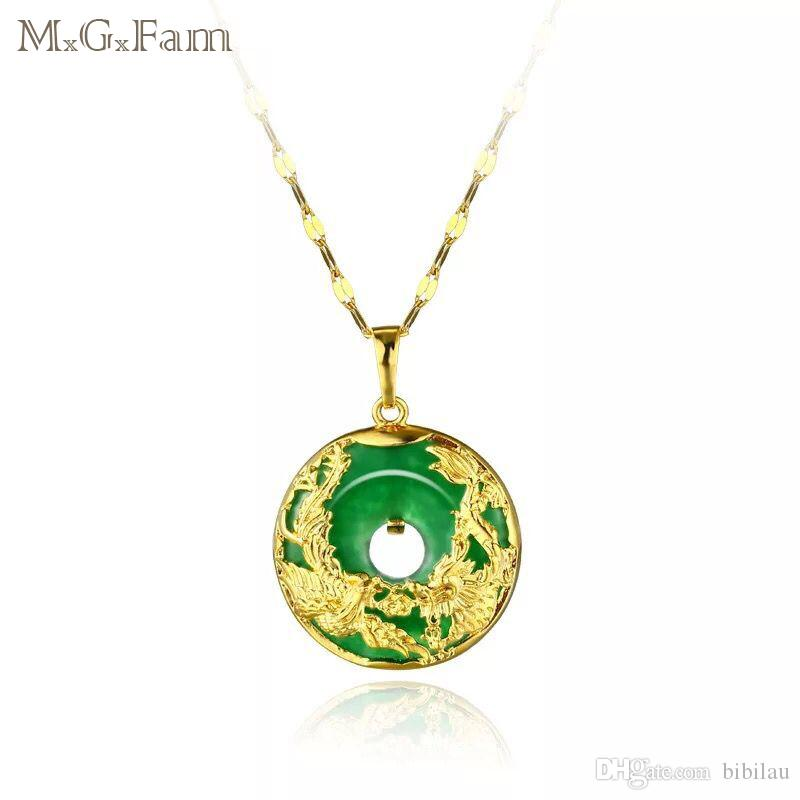 Mgfam 173p dragon and phoenix pendant necklace for women green mgfam 173p dragon and phoenix pendant necklace for women green malaysian jade china ancient mascot 24k gold plated with 45cm chain green pendant necklace aloadofball Images