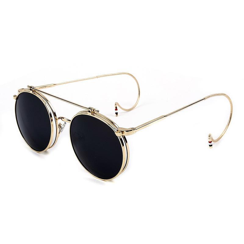 b4718fd710 Compre Flip Upp Gafas De Sol Redondas Hombres Mujeres Espejo Masculino  SteamPunk Sunglass Vintage Retro Gafas De Hombre Gafas De Sol Hombres Marca  2018 A ...