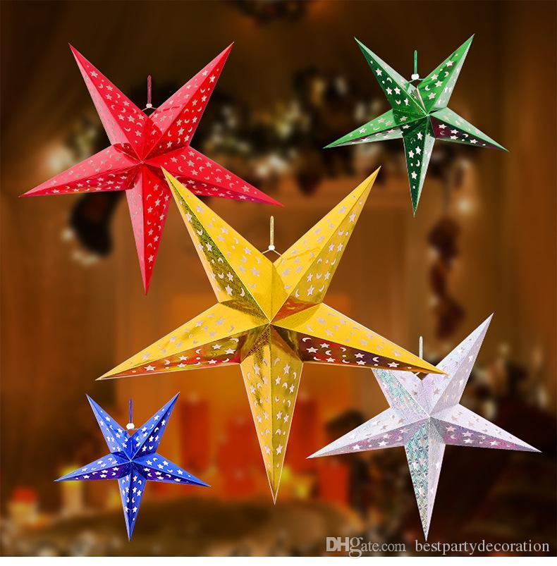 Günstige Weihnachtsfeier.Günstige Weihnachtsdekoration Laterne Pentagramm Lampenschirm Stern Papierlaterne Hängende Hochzeit Weihnachtsfeier Zubehör Laterne 30 Cm