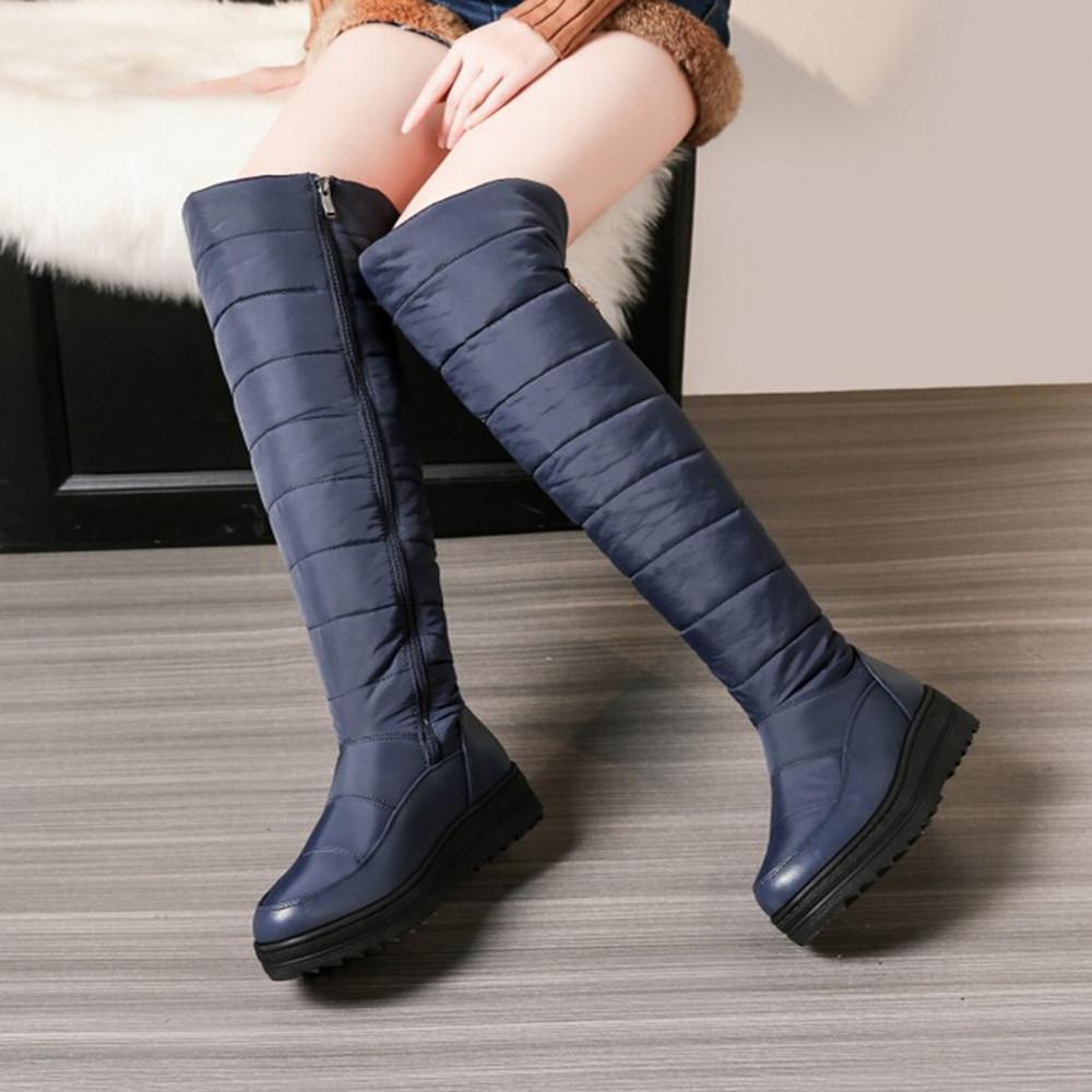 40137833b0c Compre YOUYEDIAN Mujer Botas De Nieve 2018 Botas Sobre La Rodilla  Cremallera Mujer Invierno Zapatos Planos Con Casual Zapatos De Mujer A   35.45 Del ...