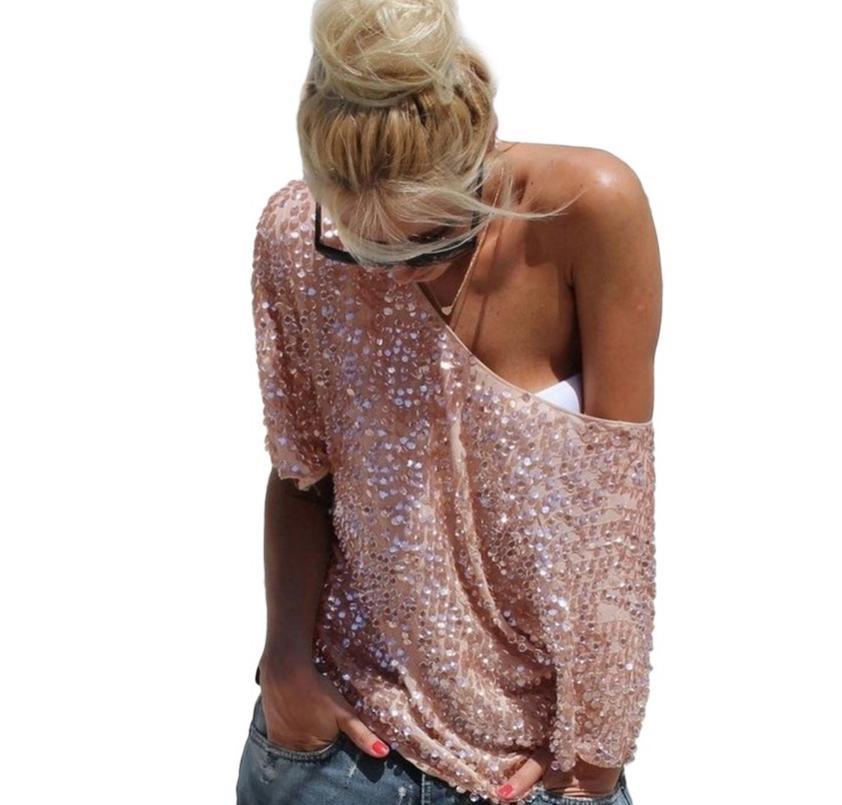 2018 nuove donne sexy calde moda allentata spalla paillettes glitter camicette estate casual camicie vintage streetwear partito top