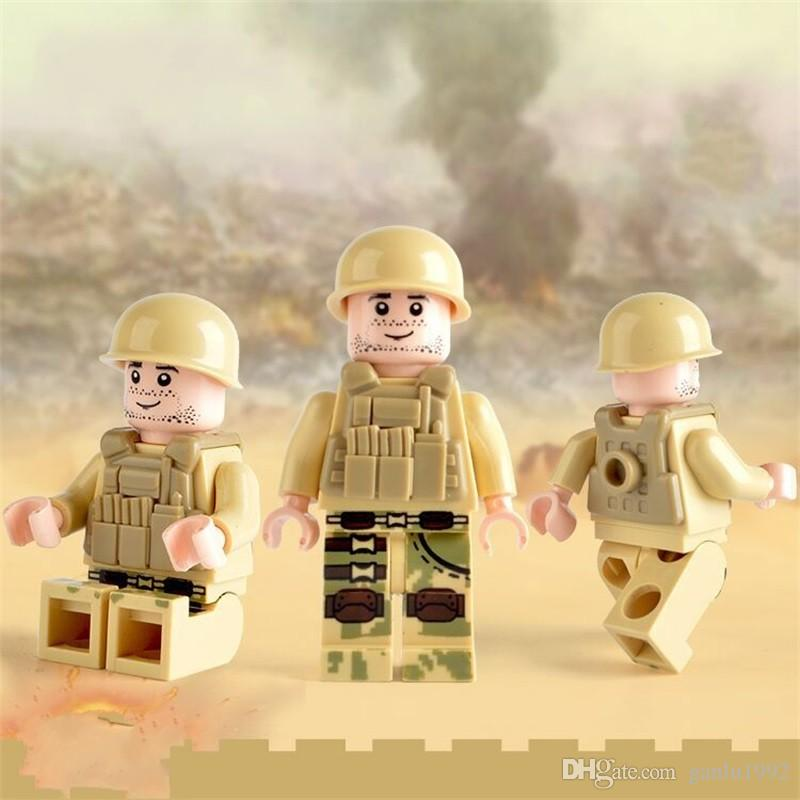 Assembled Blocks Cartoon Sea Land And Air Military Bulk Doll Collection Children Multiful Pattern Mini Building Block Toy 0 66ad W