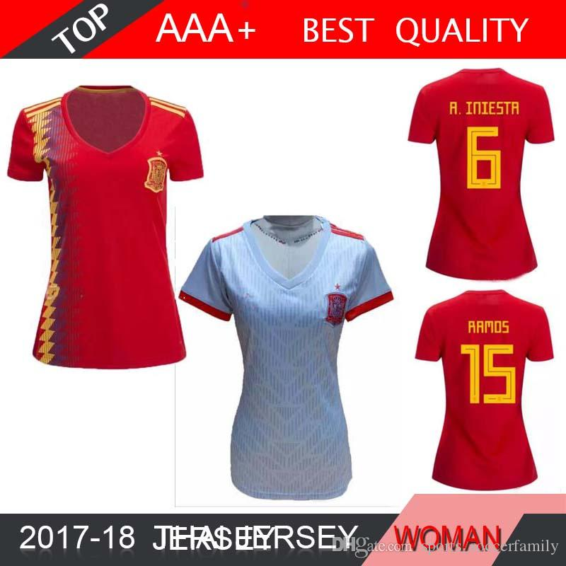 Spanien Frauen Asensio MORATA ISCO RAMOS 2018 Home World Cup Weibliche Fußballtrikots 2018 2019 Frauen PIQUE SILVA FABREGAS Fußball Shirts