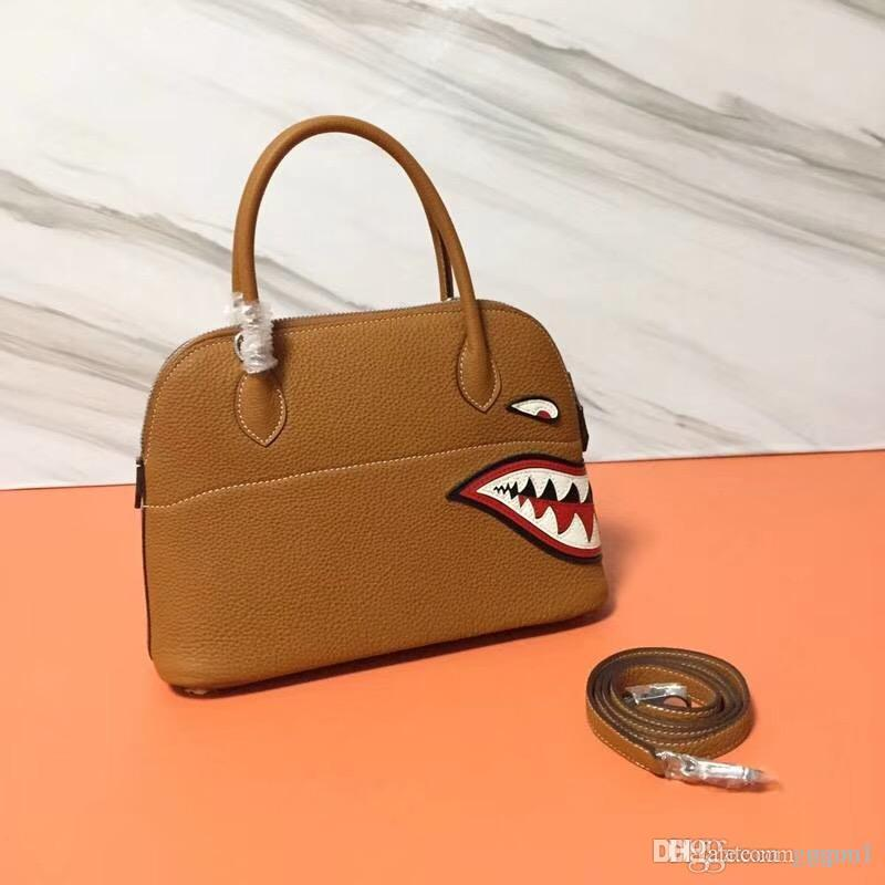e3b9ba83ef5f 2018 Top Quality Classic Real Togo Leather Bolide Women Handbag Tote Bag  26cm Shark Patchwork Luxury Designer Lady Fashion Shoulder Bag Black Handbag  ...