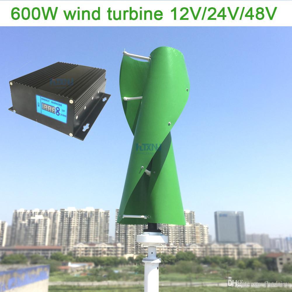 Maglev wind turbine 600w 12v 24v 48v vertical axis wind generator with 12v  24v AUTO MPPT controller for home use