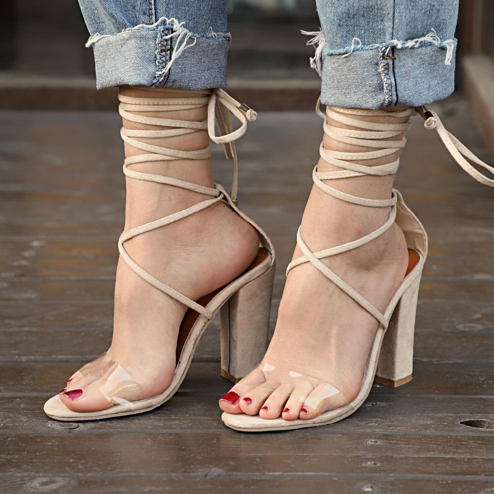7cd11c1abddf 2018 Sexy Women Pumps Open Toe Lace Up Heels Sandals Woman Sandals Square  Heels Women Shoes Women High Heels Canada 2019 From Shoes1122