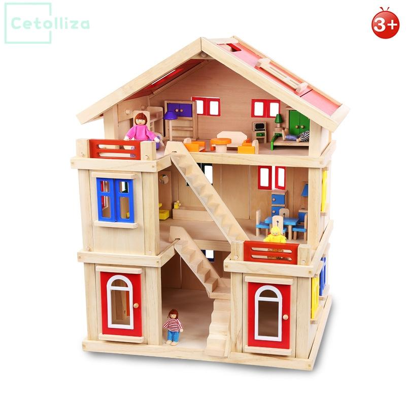 Onshine Doll House With Furniture Handmade Wooden House Diy Birthday