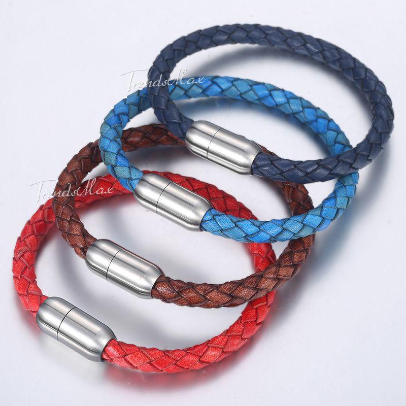 f9adc881a716 Pulseras trenzadas de cuero genuino para hombre rojo azul marrón para  hombre pulsera 2018 joyería de acero inoxidable cierres magnéticos 6 mm  DLBM15